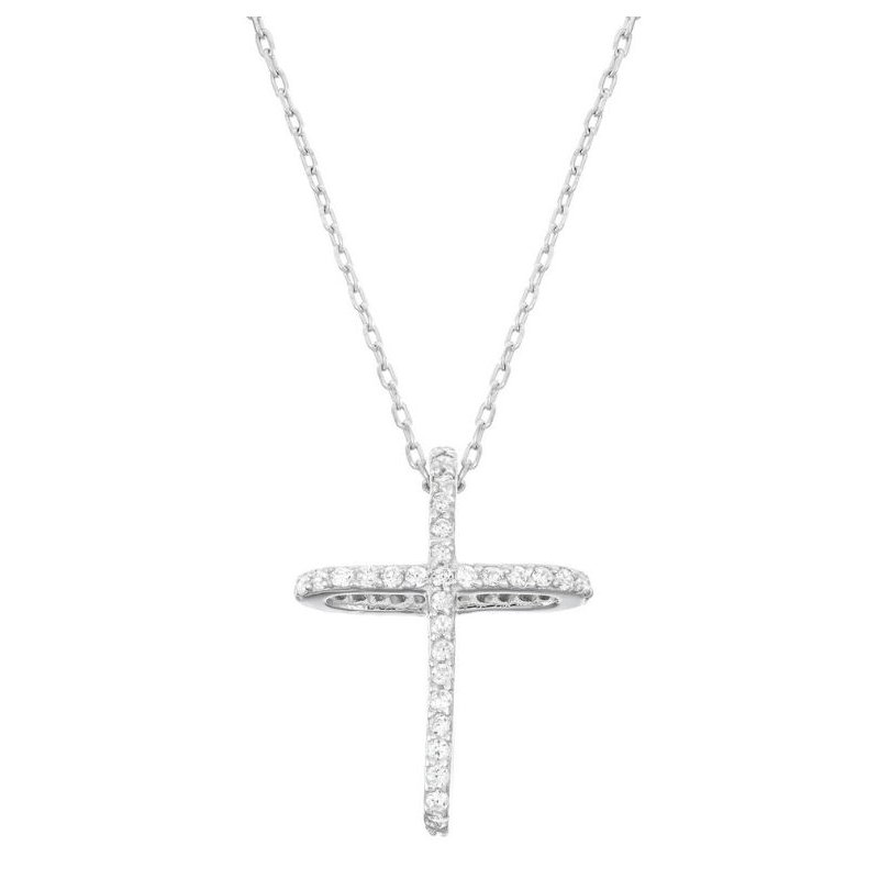 Fashion Jewelry Collection Sterling Silver CZ 3-D Two Sides Cross Chain Necklace