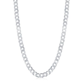 - Sterling Silver 4.4mm Curb Cuban Chain Necklace for Men