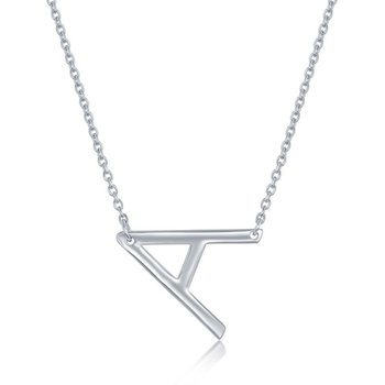 """- Sterling Silver Sideways Letter Initial Chain Necklace - 16"""""""