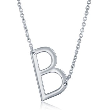 - Sterling Silver Sideways Letter Initial Chain Necklace - 16""