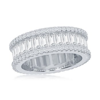 Sterling Silver Baguette and Round CZ Stones Eternity Band Ring