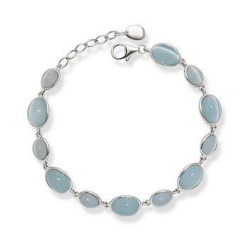 "- Simona Sterling Silver Light and Dark Blue Oval Cat's Eye Bracelet - 8"""