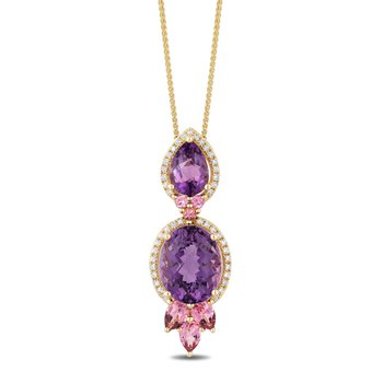 - 14k Yellow Gold Diamond Halo Amethyst Center with Pink Tourmaline Gemstones Chain Pendant