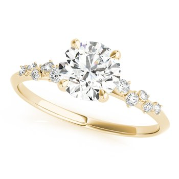 Round Diamond Round & Marquise Accented Engagement Ring