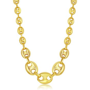 """- Sterling Silver 14k Yellow Gold Plated Graduated Puffed Marina Trendy Chain Necklace - 17"""""""