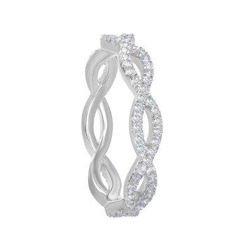 Bellissima Sterling Silver 0.85ctw. White Topaz Gemstone Eternity Band Ring
