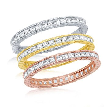 Sterling Silver 14k Gold Plated Tri-Color Square Princess CZ Eternity Stackable Triple Ring Band