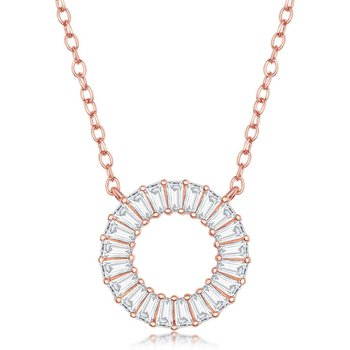 Sterling Silver Baguette CZ Circle Pendant Chain Necklace and Earrings Set