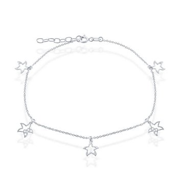 - Sterling Silver Dangling Starfish Cut-Out Charms Chain Anklet - 9""