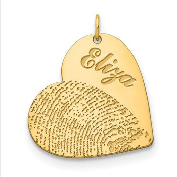 14k Gold Personalized 25.9x25.2mm Heart Fingerprint Charm Pendant