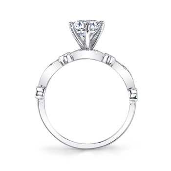 - Stackable Vintage-Inspired Solitaire Diamond Accented Semi-Mount Engagement Ring
