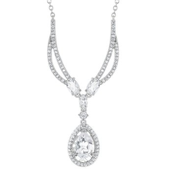 "- Bellissima Sterling Silver 3.57ctw. White Topaz Gemstones Teardrop Bridal Necklace - 18"""