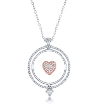 Sterling Silver Two-Tone 14k Rose Gold Plated Spinning Disc Micro Pave Heart CZ Pendant Chain Necklace