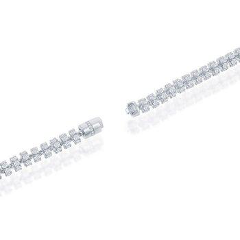 - Sterling Silver 6mm Barrel White CZ Chain Bracelet / Necklace for Men