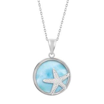 - Caribbean Treasures Sterling Silver Larimar Gemstone Starfish Pendant