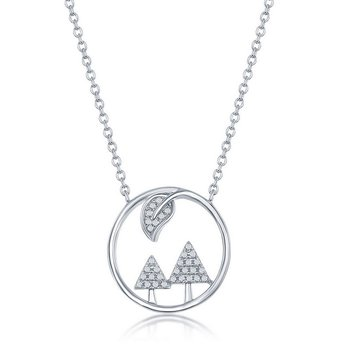 """- Sterling Silver Round CZ Trees & Leaf Necklace - 16"""""""