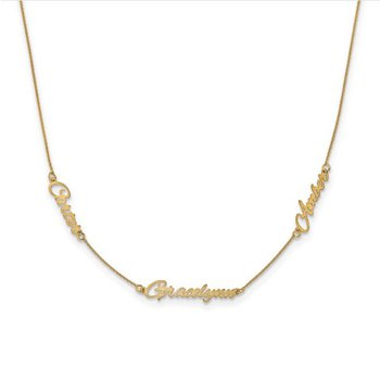 """14k Gold Personalized 3 Name 18""""x1mm Cable Chain Station Necklace"""