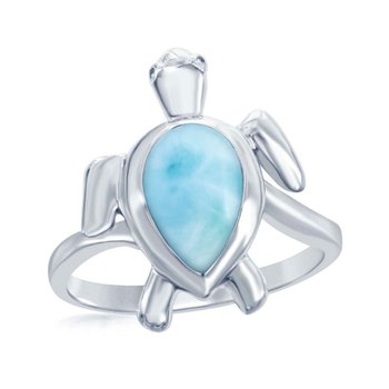 - Caribbean Treasures Sterling Silver Larimar Gemstone Turtle Ring