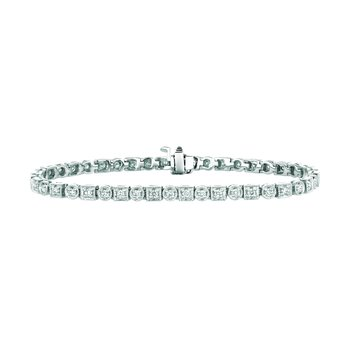 14K Gold 1.36ctw. Diamond Rounds Squares Tennis Bracelet