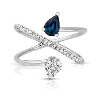 1/4ct. Diamond & 1/2ct. Blue Sapphire Gemstone 14k White Gold Right Hand Ring