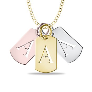 Customized Initial Letter Cutout Dog Tag 17x10.2mm Pendant