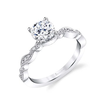 - Solitaire Round-Shaped Center Diamond Accented Vintage-Inspired Semi-Mount Engagement Ring