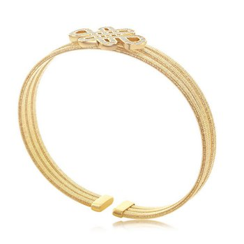 - Italian Collection Sterling 14k Gold Plated Intertwined Design Triple Wire Bangle Cuff Bracelet