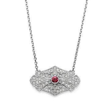 - 1/5ct. Diamond & 1/20ct. Round Ruby Gemstone 14k Gold Chain Necklace