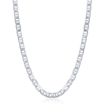 Sterling Silver 4.1mm Flat Mariner Marina Anchor Chain Necklace for Men