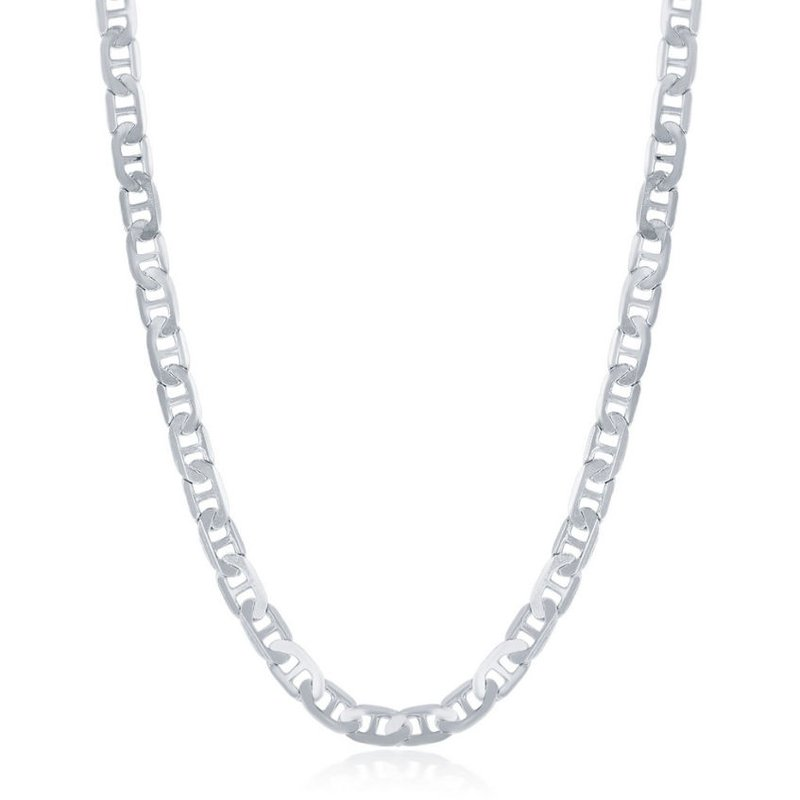 Fashion Jewelry Collection Sterling Silver 4.1mm Flat Mariner Marina Anchor Chain Necklace for Men