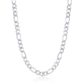 - Sterling Silver 6.2mm Pave Figaro Chain Necklace for Men