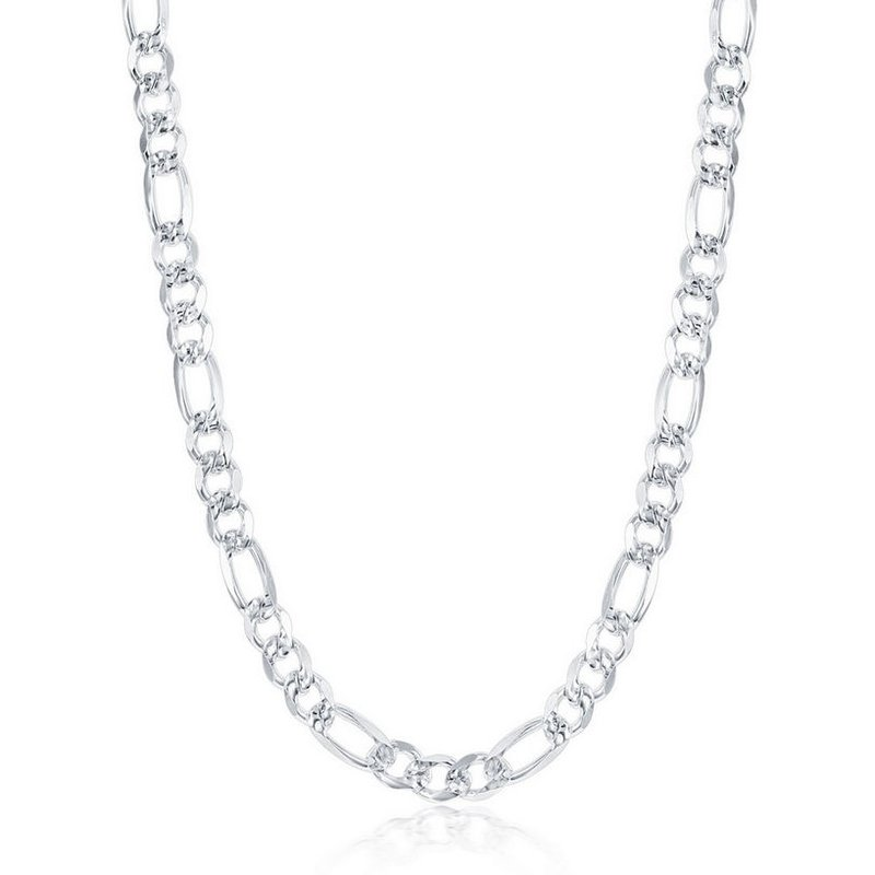 Fashion Jewelry Collection  - Sterling Silver 6.2mm Pave Figaro Chain Necklace for Men