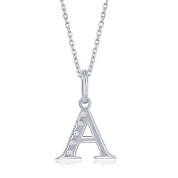 """- Sterling Silver Round Diamond Letter Initial Pendant with 16"""" Chain"""