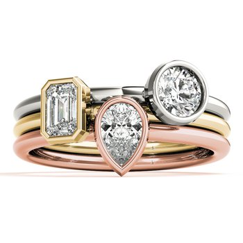 Solitaire Bezel-Set Pear 1/3ct. Diamond Anniversary Stackable Ring Band