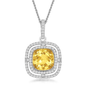 """- Bellissima Sterling Silver Square Blue Topaz and White Topaz Gemstones Pendant Necklace - 17"""""""