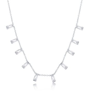 Sterling Silver Dangling Baguette CZ Station Chain Necklace