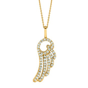 14K Gold 0.28ctw. Diamond Angel Wings Pendant Chain Necklace