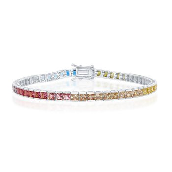 "- Sterling Silver Multi-Color Rainbow Square CZ Tennis Bracelet - 7.50"""