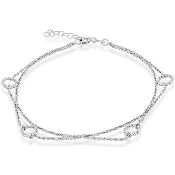 - Sterling Silver Double Strand Open Rings Anklet - 9""