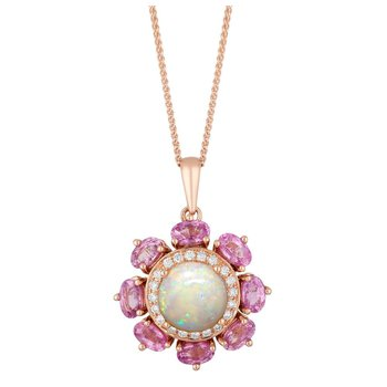 - 14k Rose Gold Halo Diamond and Australian Pearl Center and Pink Sapphire Gemstones Floral Nature Inspired Chain Pendant