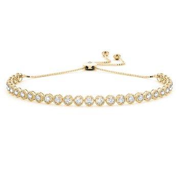 1.00ctw. Diamond 14k Gold Milgrain Adjustable Bolo Lariat Tennis Bracelet