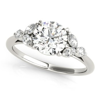 Round Diamond Round & Marquise Accented Floral Engagement Ring