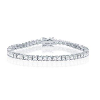 Sterling Silver 4mm Square Princess Prong-Set CZ Tennis Bracelet