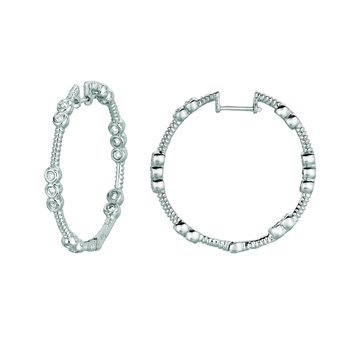 14K Gold 0.59ctw. Diamond Hoop Earrings
