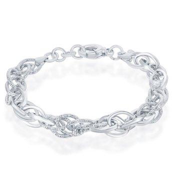 "- Bella Moda Sterling Silver Alternating Polished & Diamond-Cut Oval Link Chain Bracelet - 7.50"""