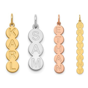 14k Gold Personalized 1 to 9 Letter Vertical Bubble Pendant