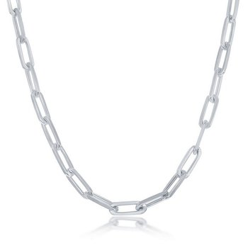 - Sterling Silver 5.5mm Elongated Paper Clip Style Cable Link Chain Necklace