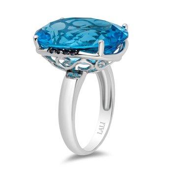 - 14k White Gold Swiss Blue Topaz Center and Sapphire Gemstones Cocktail Ring