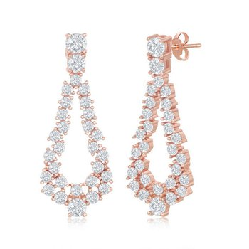 Sterling Silver CZ Pear-Shaped Earring Pair