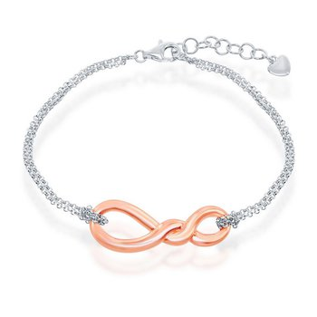 """- Sterling Silver Infinity Knot Double Strand Chain Bracelet - 7"""""""